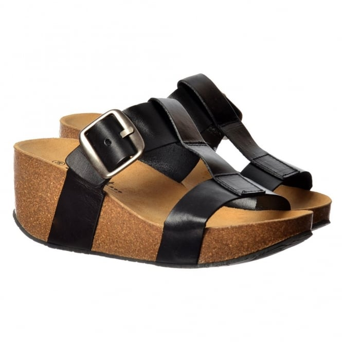 Sweet Vivian Full Leather Flip Flop Wedge Sandal - Black, Turquoise