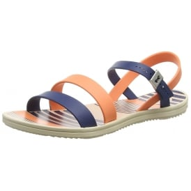 Urban Flat Jellie Strappy Sandal - Navy / Coral
